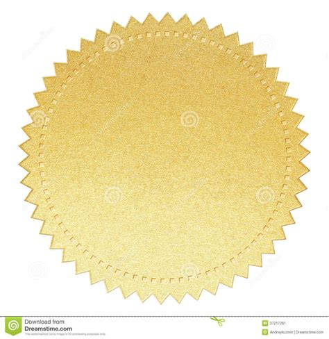 sealing paper gold paper seal label with isolated clipping path stock