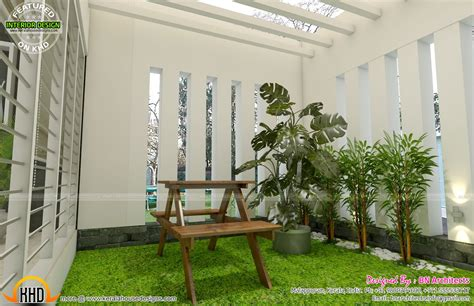 style house plans with interior courtyard all in one house elevation floor plan and interiors kerala home design and floor plans