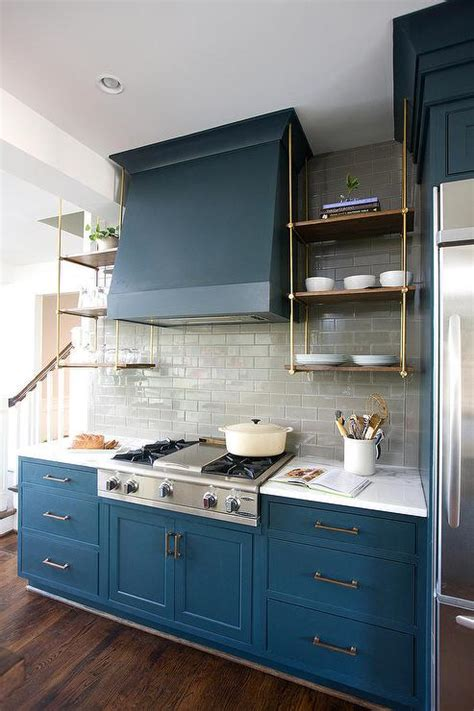 blue cabinets blue kitchen cabinets with wood and brass shelves