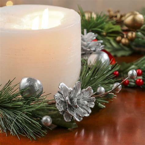 candle ring embellished artificial pine candle ring candles and