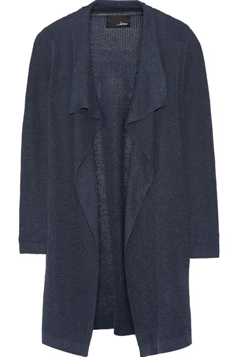 knit line line baroness waffle knit n blend cardigan in blue lyst