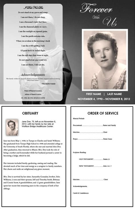 make your own memorial cards free 73 best printable funeral program templates images on