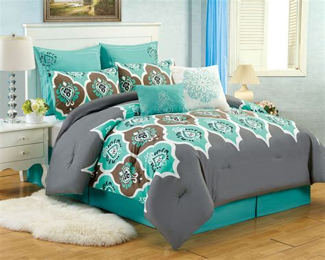 teal and grey comforter set 8 pc teal grey ogee comforter set boho gray blue