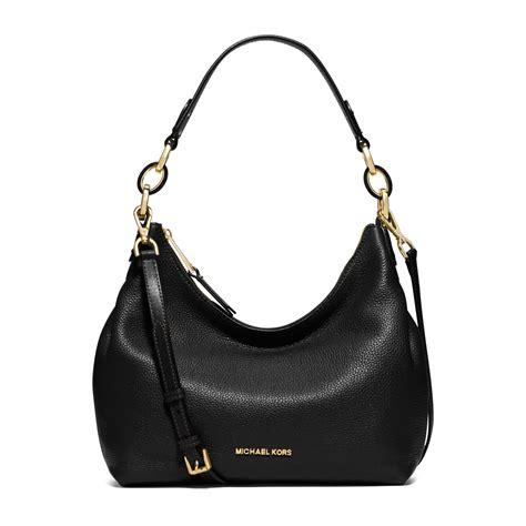 black leather the shoulder bag michael kors medium leather shoulder bag in black lyst