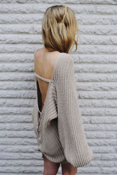 big knit jumpers sweater open back scoop back knit shirt blouse