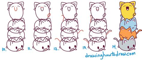 cat step by step how to draw kawaii cats stacked on top of each other