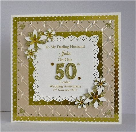 golden wedding cards to make golden 50th wedding anniversary card for husband