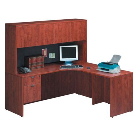 desk with return and hutch cherry l desk with right return and hutch