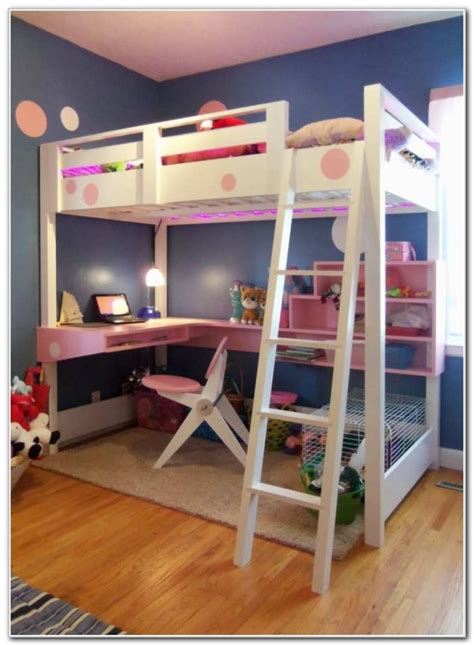 size bunk bed with desk size bed with desk