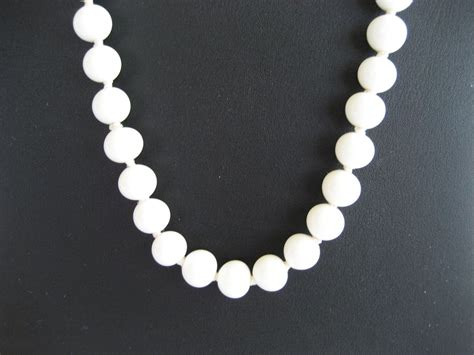 white glass bead necklace 24 quot white glass bead necklace sterling clasp from
