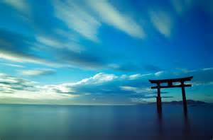 Japanese Minimalism wallpaper japan japan ocean sky gate torii landscape