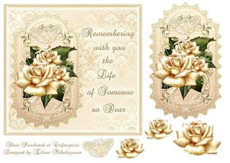 golden memories sympathy card front topper with decoupage