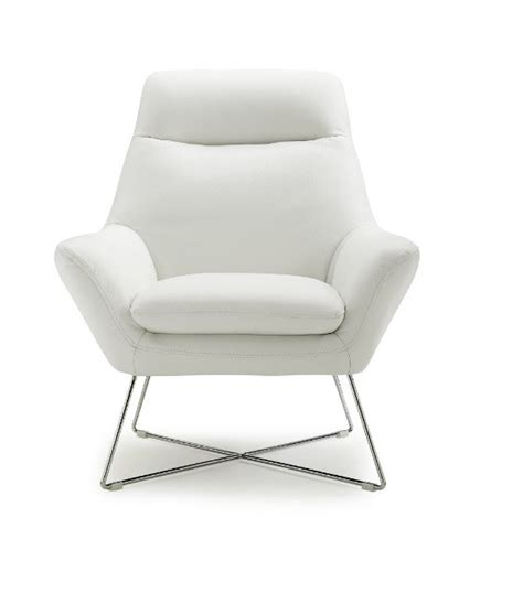 White Leather Accent Chair by Livorno White Italian Leather Modern Accent Chairs