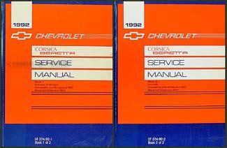 service manual vehicle repair manual 1992 chevrolet beretta lane departure warning service 1992 chevy corsica beretta repair shop manual original 2 volume set