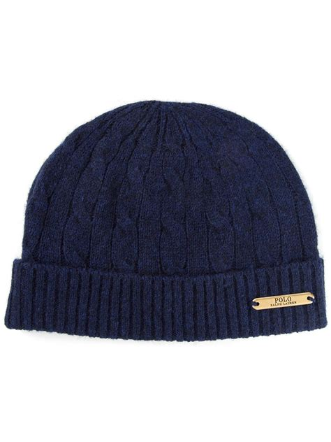 polo knit hats polo ralph cable knit beanie in blue for lyst