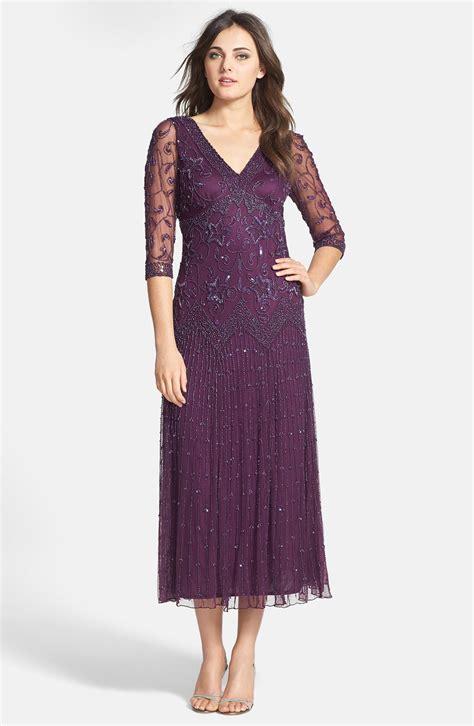 pisarro nights beaded dress pisarro nights beaded mesh dress in purple plum lyst