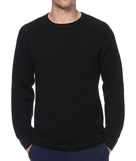 black knit sweater ninth commando black waffle knit sweater