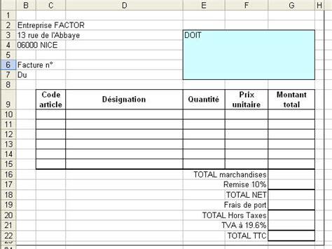trouver modele facture xls