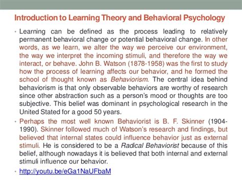 introduction to learning and behavior psy 361 learning chapter 4 introduction to learning theory and behavioral
