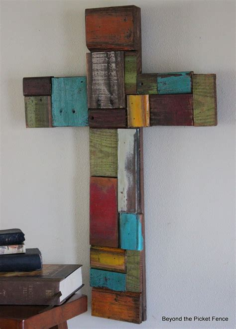 cross craft projects beyond the picket fence patchwork scrap wood cross