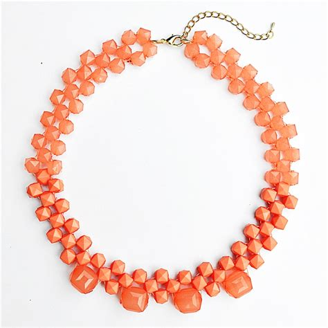 coral beaded necklace beaded collar necklace statement bib necklace with coral