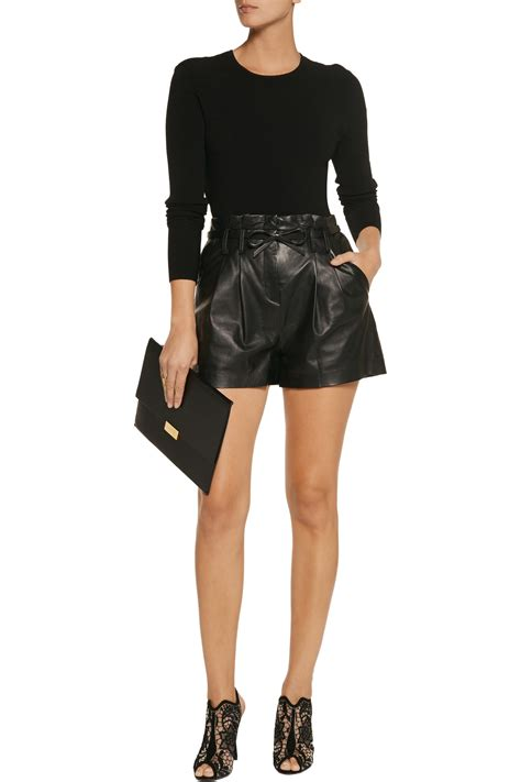 leather shorts milly lola paperbag leather shorts in black lyst