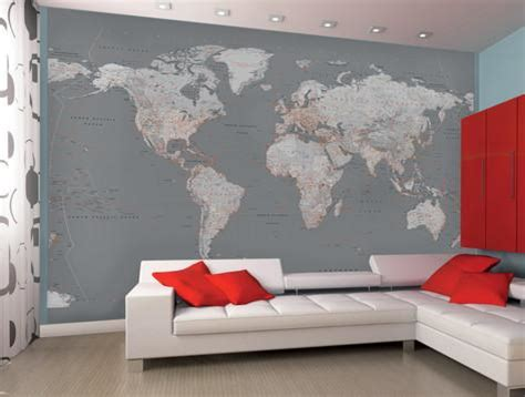 Picture Frame Wall Sticker contemporary grey world map wallpaper mural wallpaper