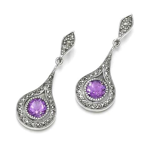 earrings with sterling silver marcasite semi precious earrings