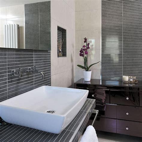 modern gray tile bathroom modern bathroom with grey pinstripe effect tiles