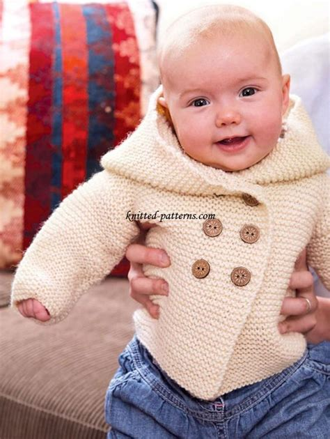 free baby hoodie knitting pattern knitted baby stitches and yarns on