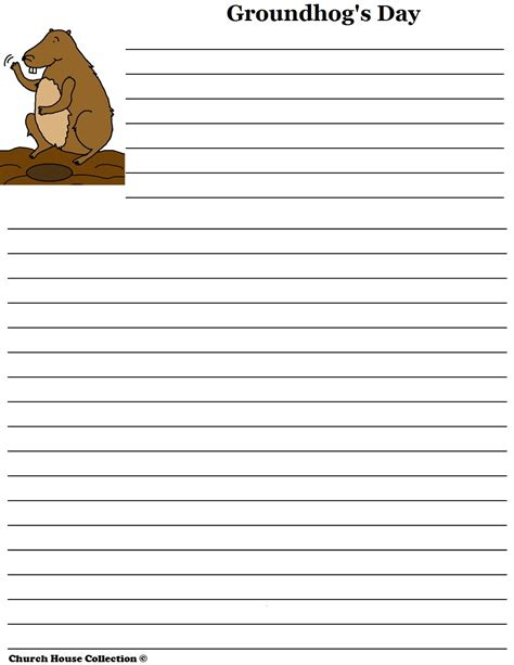 groundhog day writer church house collection groundhog day writing paper