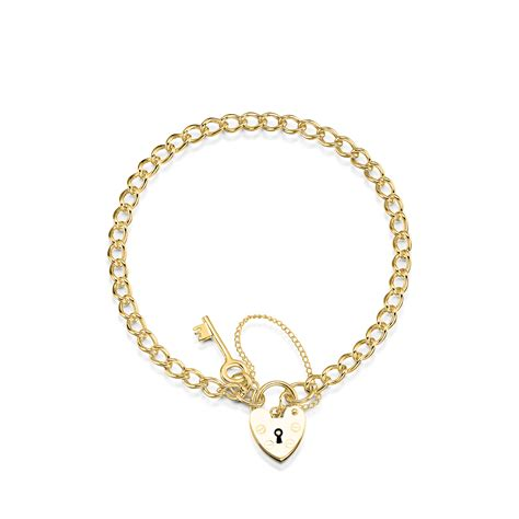 bracelets and charms 9ct yellow gold curb charm bracelet with key and