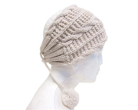 knit headwrap 4914 cable knit headwrap with poms