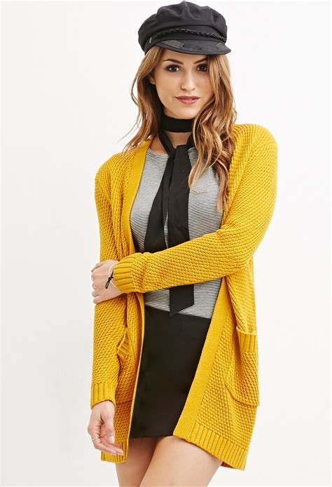 yellow knit cardigan forever 21 waffle knit cardigan in yellow lyst
