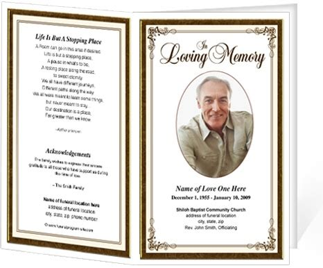 make your own memorial cards free simple frame funeral programs templates diy