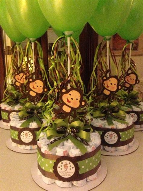 Monkey Baby Shower Diapers Centerpiece with Balloon Green/Brown, Diaper cake, Diaper Cakes