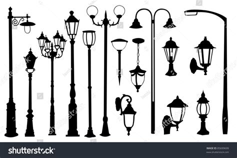 silhouette lights light silhouettes stock vector illustration