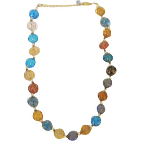 multi coloured bead necklace vintage multi colored bead necklace from