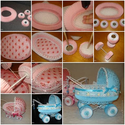 baby shower paper crafts how to make paper stroller for baby showers diy tutorial