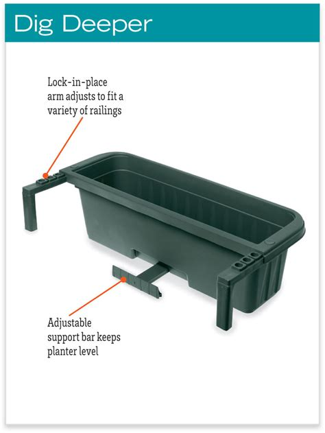 self watering railing planter railing planters 24 quot accommodate 1 quot to 4 25 quot thick deck