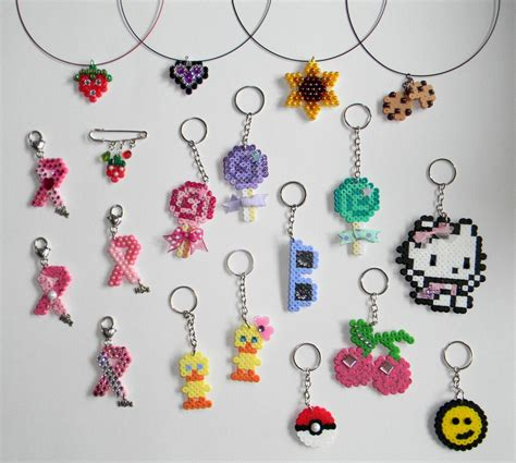 beaded keyring patterns hama perler necklaces and keychains by jadedragonne