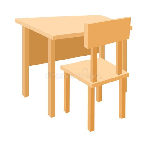 Wooden School Desk Chair by Wooden School Desk And Chair Icon Style Stock