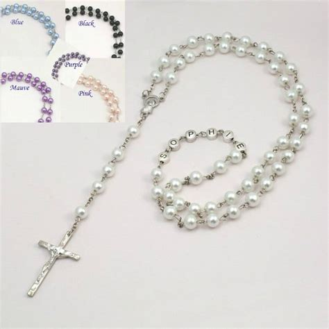 rosary jewellery pearl rosary with name various colours jewels 4