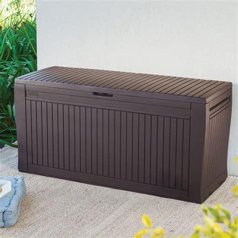 plastic patio storage boxes comfy wood effect plastic patio storage box departments diy at b q