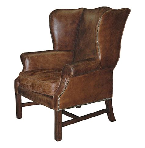 Wingback Chair by Gaston Rustic Lodge Aged Leather Wingback Library Accent