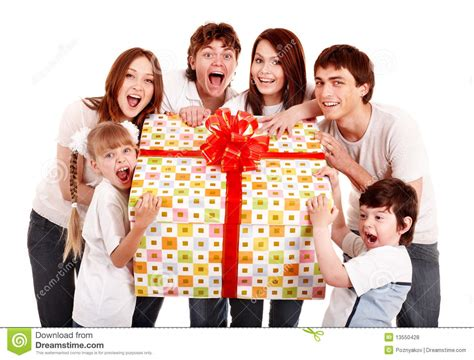 gift family happy family with gift box royalty free stock photos