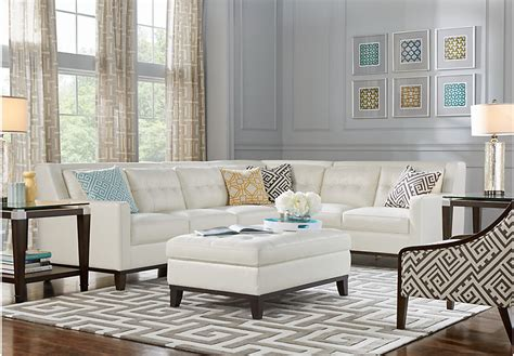 white sectional living room reina white leather 5 pc sectional living room leather