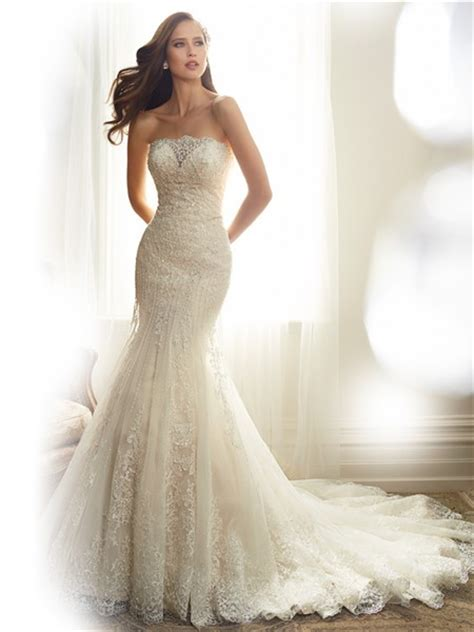 beaded wedding gown fitted mermaid strapless tulle lace applique beaded