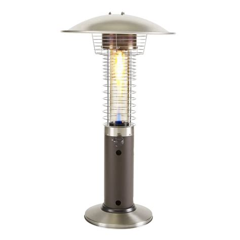 lowes patio heater garden treasures 11 000 btu liquid propane mocha tabletop