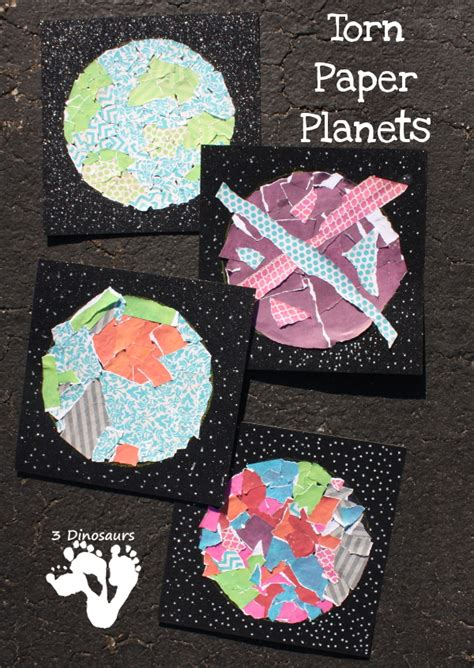 space craft projects easy to make torn paper planets 3 dinosaurs